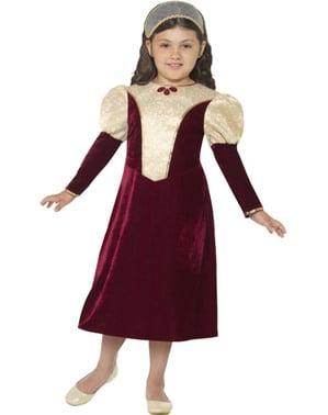 Mørkerødt Renæssance Kostume til Piger