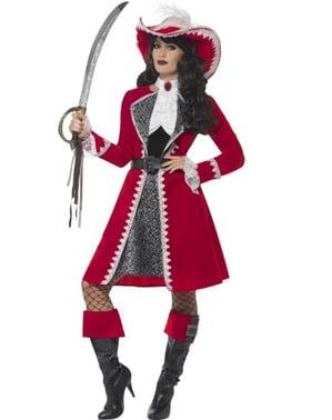 Piraten-Kapitänin Kostüm scharlachrot für Damen
