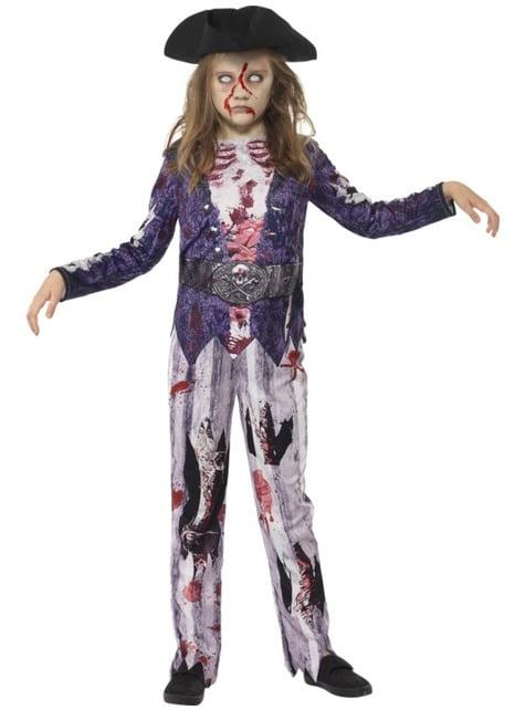 Disfraz de pirata zombie para niña