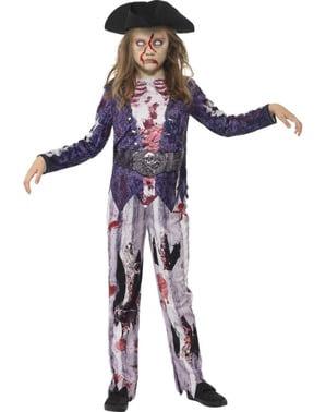 Zombie Piratin Kostüm für Mädchen