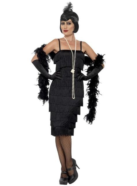 20er Jahre Kostüm schwarz für Damen
