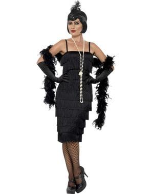 Costum de domnișoară în negru anii 20 pentru femeie