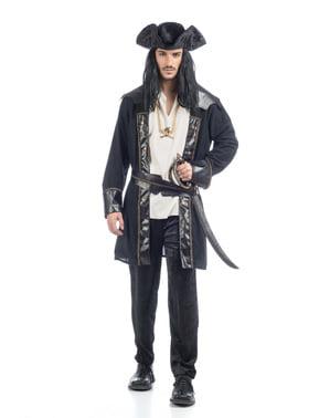 Piratkostume med sort jakke til mænd