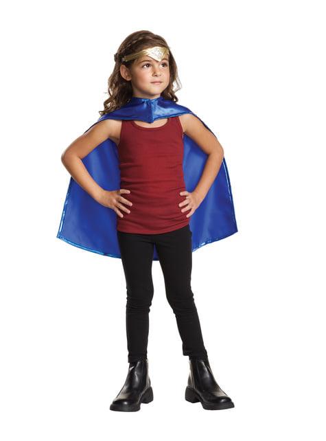 Wonder Woman tiara og kappe til piger