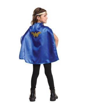 Kit de tiara e capa de Mulher-Maravilha para menina