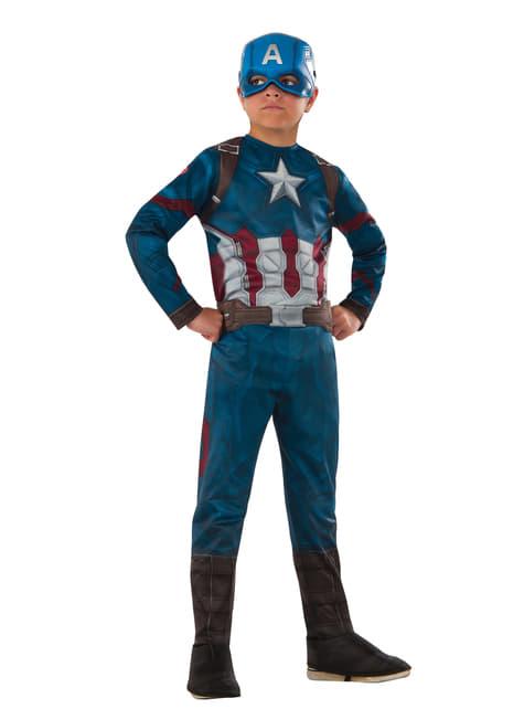 Fato de Capitão América Civil War para menino