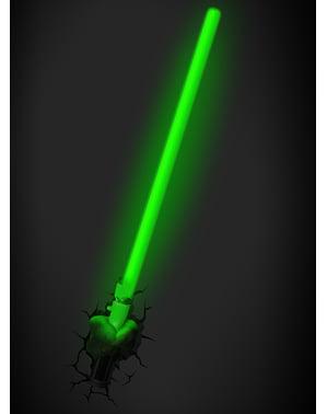 Lampada da muro 3D spada di Yoda Star Wars