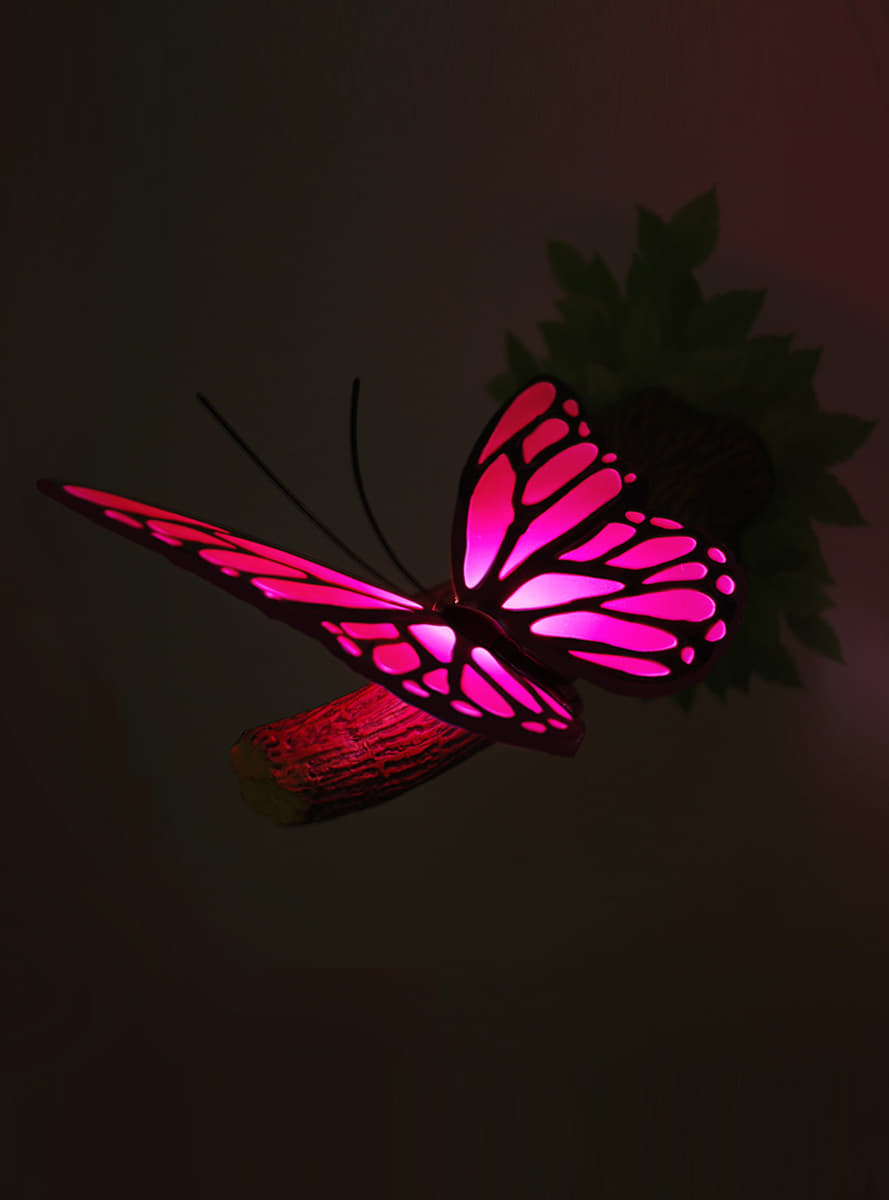 dekorative lampe 3d rosa schmetterling funidelia. Black Bedroom Furniture Sets. Home Design Ideas