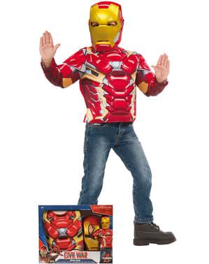 Kit fato de Iron Man para menino em caixa