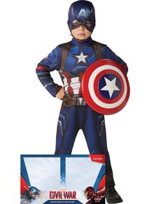 Disfraz de Capitán América Civil War con escudo para niño en caja