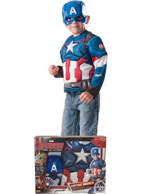 लड़के का कैप्टन अमेरिका पेशी पोशाक किट