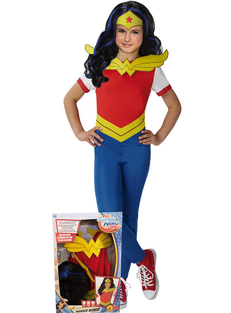 Fato de Wonder Woman classic para menina em caixa