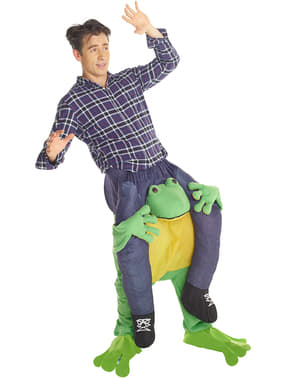 Zwergin macht Huckepack auf einem Frosch Carry Me Kostüm