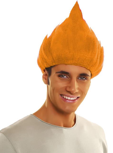 Peluca de troll naranja para adulto