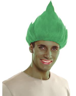 Peruca de troll verde para adulto