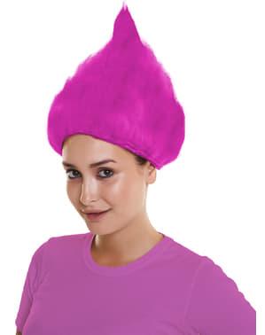 Peruca de troll cor-de-rosa para adulto