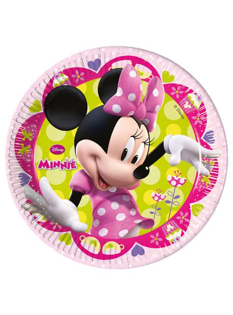 8 pratos grandes cor-de-rosa Minnie Mouse
