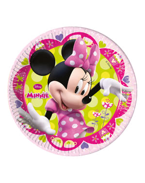 8 pratos grandes cor-de-rosa Minnie Mouse