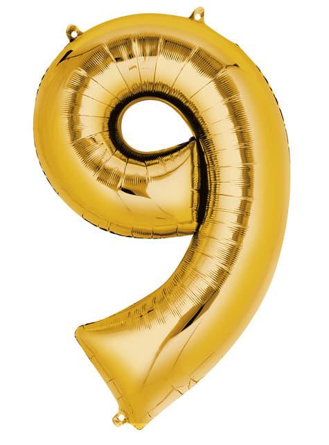 Globo número 9 dorado (55 x 86 cm)