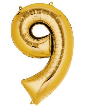 Gyllent nummer 9 ballong (55 x 86 cm)