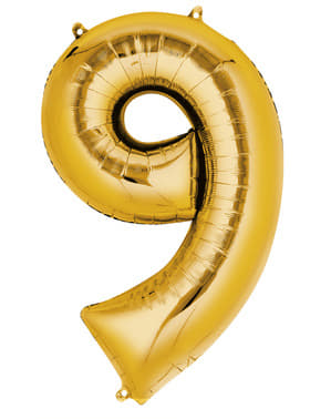 Kultainen numero 9 ilmapallo (55x86cm)