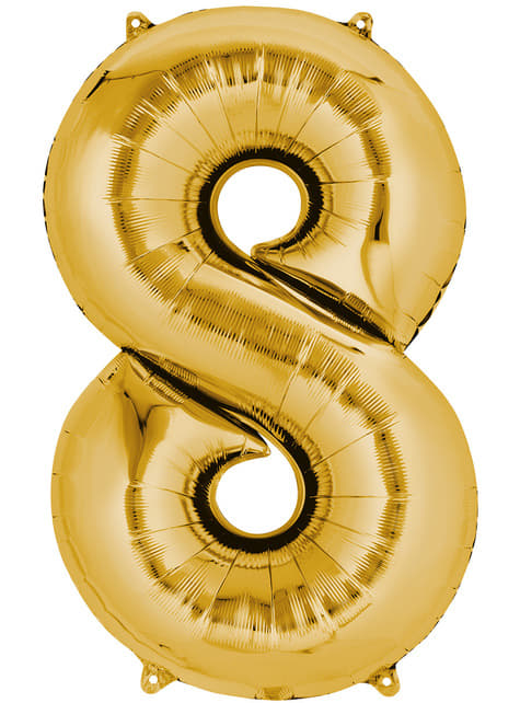 Gold Number 8 Balloon (55 x 86 cm)