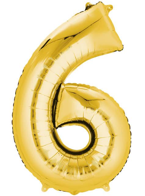 Balonek číslo 6 zlatý