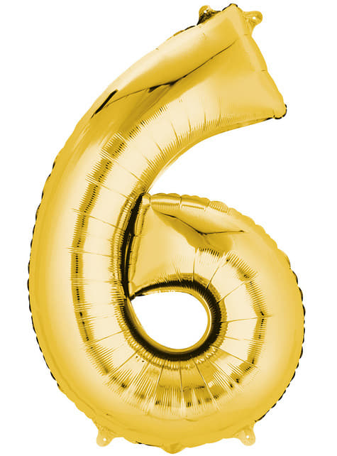 Gold Number 6 Balloon (55 x 86 cm)