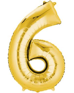 Ballon chiffre 6 doré (55 x 86 cm)
