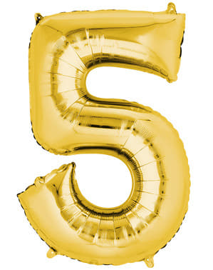 Gold Number 5 Balloon (55 x 86 cm)