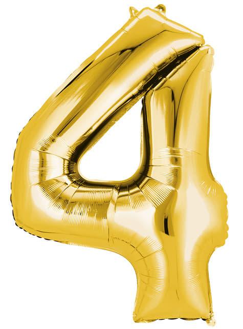 Balonek číslo 4 zlatý (55 x 86 cm)