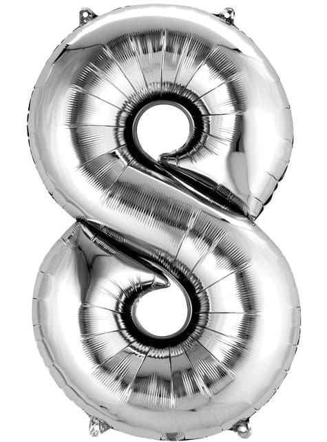 Balonek číslo 8 stříbrný