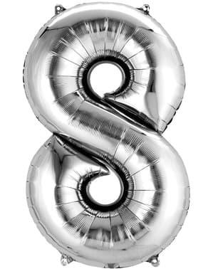 Hopeanvärinen numero 8 ilmapallo
