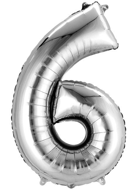 Balonek číslo 6 stříbrný