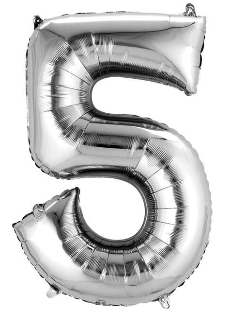 Balonek číslo 5 stříbrný