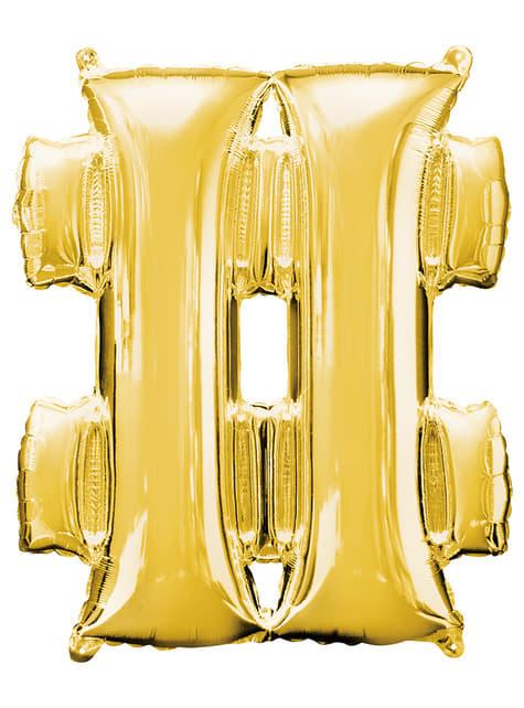 Gold Hashtag Balloon (86 cm)