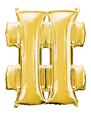 Balão hashtag dourado  (86 cm)