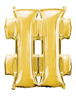 Ballon hashtag goud (86 cm)