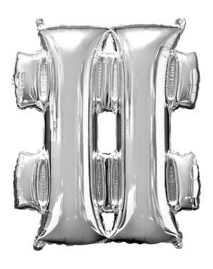 Hopeanvärinen hashtag ilmapallo (86 cm)