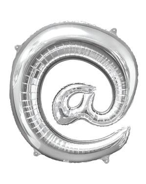 Hopeanvärinen at- merkki ilmapallo (86 cm)