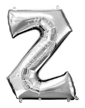 Hopeanvärinen kirjain Z ilmapallo (86 cm)