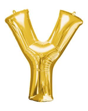 Balão letra Y dourada (86 cm)