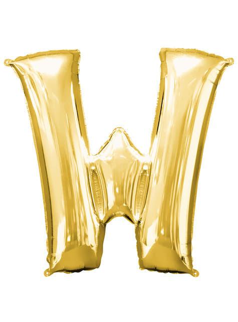Globo letra W dorado (86 cm)