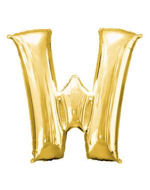 Balão letra W dourada (86 cm)