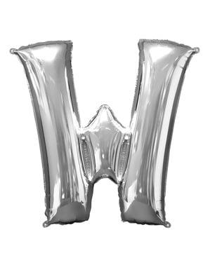 Hopeanvärinen kirjain W ilmapallo (86 cm)