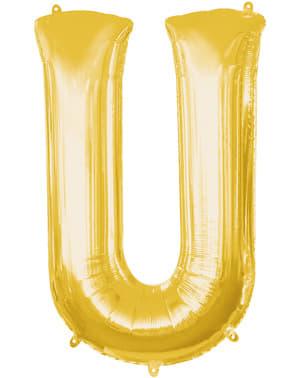 Balão letra U dourada (86 cm)