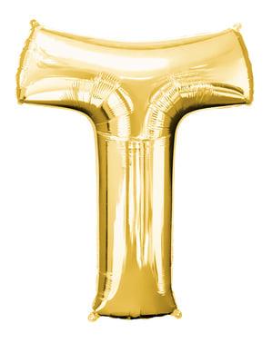 Balão letra T dourada (86 cm)