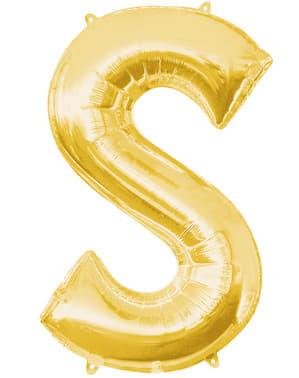 Balão letra S dourada (86 cm)