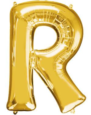 Balão letra R dourada (86 cm)