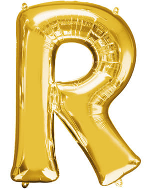 Globo letra R dorado (86 cm)